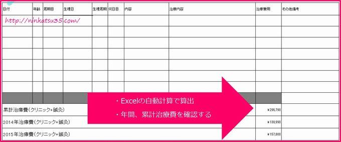 通院記録と不妊治療費用自動算出1