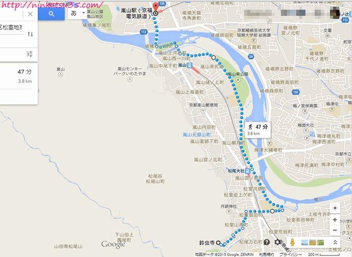 嵐山から鈴虫寺への行き方R